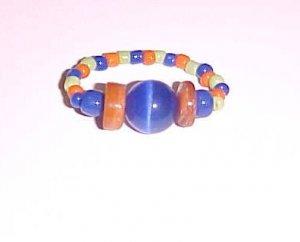 Vibrant Blue Green Orange Ring Size 5-6 by Island Junkee