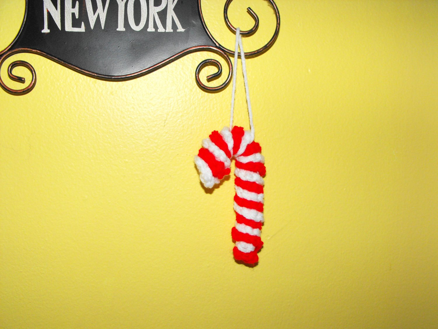 Crocheted Red and White Candy Cane Christmas Tree Ornament
