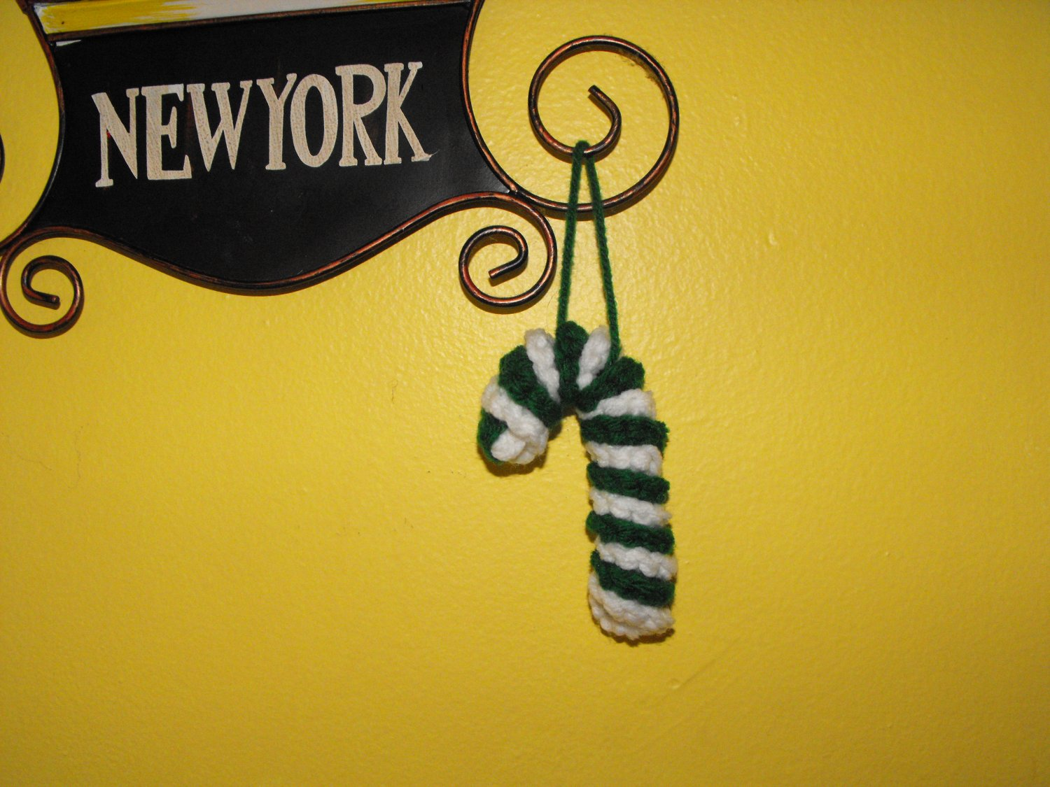 Crocheted Green and White Candy Cane Christmas Tree Ornament