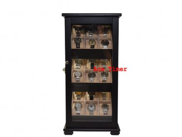 18 Watch Black Lacquer 360 Degree Stand Display Case Fit Up to 65mm + Gift