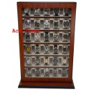 30 Watch Mahogany Stand Wall Mount Display Storage Case Fit up to 60mm + Cloth