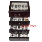 40 Watch (Premium Series) Glass Top Ebony Display Storage Case Box + Cloth