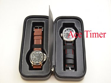 2 Watch Black Genuine Leather Zippered Traveling & Storage Case Fits Up to 60mm