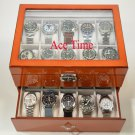 20 Watch Glass Top Oak Display & Storage Case Box + Free Polishing Cloth