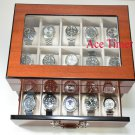 20 Watch Glass Top Mahogany Display & Storage Case Box Fit Up to 60mm Invicta