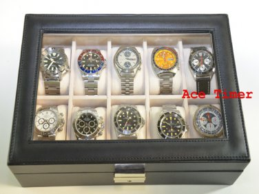 10 watch Clear Top Faux Leather Display Case Box + Free Polishing Cloth