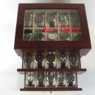 30 watch Glass Top Rosewood Display Storage Case + Polishing Cloth