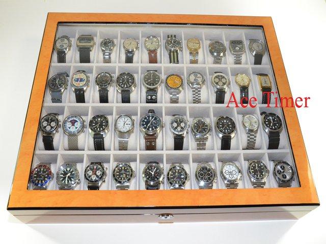 40 Watch (Premium Series) 1 Level Bird's Eyes Maple Display Case Box + Gift