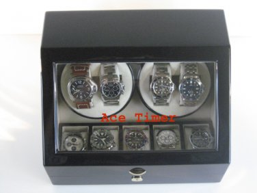 Quad (4) Automatic Watch Quality Winder Black Laquer + 5 storage (6 settings)