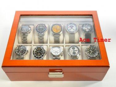 10 watch Glass Top Oak Storage Display Case Box + Free Polishing Cloth