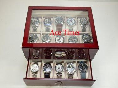 20 watch Clear Top Rosewood Storage & Display Case Box + Free Polishing Cloth