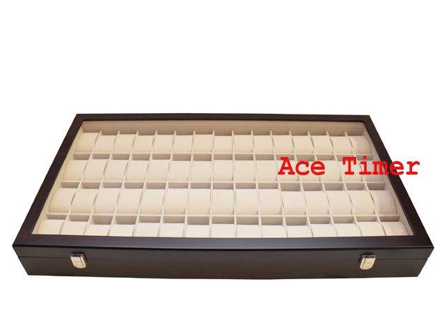 60 Watch Glass Top Ebony Finish Display Storage Case Box + Polishing Cloth