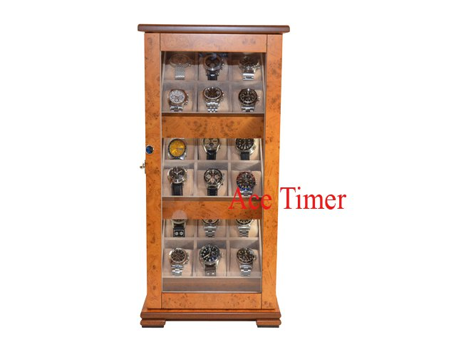 18 Watch Burl Wood 360 Degree Glass Display Case Box Large Watch up to 65mm
