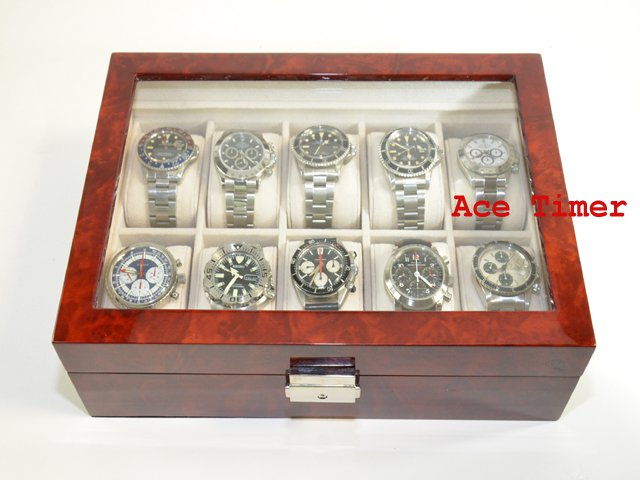 10 watch Clear Top Burl Wood Display Case Box + Free Polishing Cloth