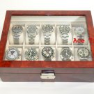 10 watch Clear Top Burl Wood Display Case Box + Free Polishing Cloth