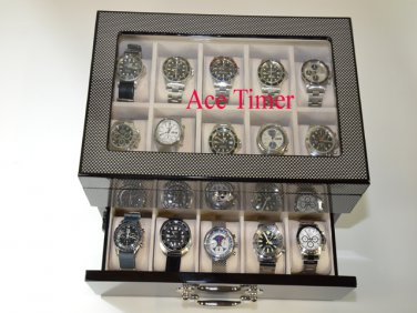20 Watch Carbon Fiber Display & Storage Case Fit Large Watches Up to 60mm