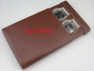 2 Watch Brown Traveling Case Fit 44mm 45mm 47mm Panerai