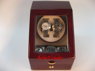 Double (2) Quality Watch Winder Rosewood + 3 storage Slots (6 settings)