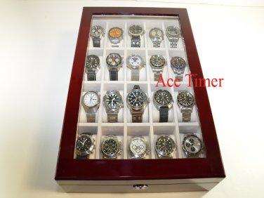 20 Watch (Premium Series) 1 Level Rosewood Display & Storage Case Box + Gift