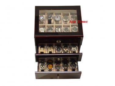 30 watch Glass Top High Gloss Ebony II Display Storage Case Box + Polish Cloth