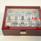 10 watch Glass Top Rosewood Display Storage Case Box + Free Polishing Cloth