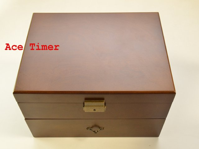 20-watch Solid Top Vintage Wood Finish Display Storage Case Box + Polish Cloth