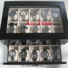20 Watch (Premium) Glass Top Black Lacquer Display Case Fits Up to 60mm + Cloth