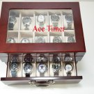 20 Watch Glass Top Burlwood Finish Display & Storage Case Box Fit Up to 60mm
