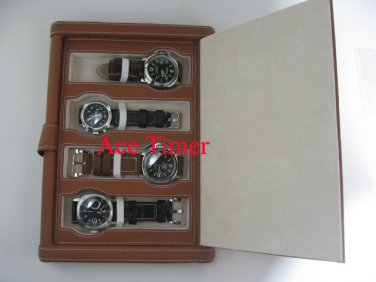 4 Watch Brown Folder Traveling Storage Case Fit Panerai