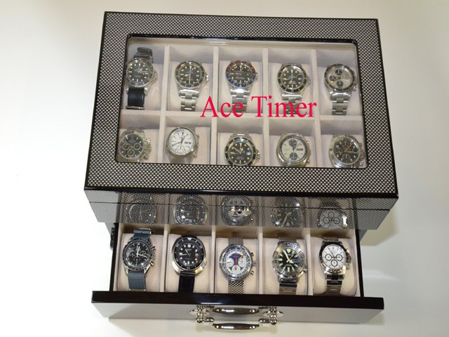 20 Watch Carbon Fiber Display & Storage Case Fit Up to 60mm INVICTA