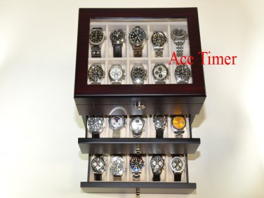30 Watch (Premium Series) Glass Top Ebony Display Storage Case Box Polish Cloth