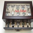 20 Watch Glass Top Ebony Finish Display & Storage Case Box Fit Up to 60mm