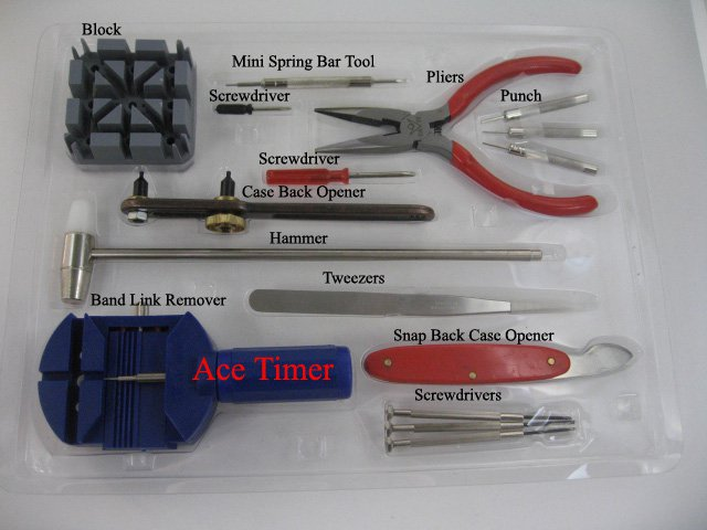 Watch Band Strap Remover Block & Case Back opener Tool kit 16 pieces