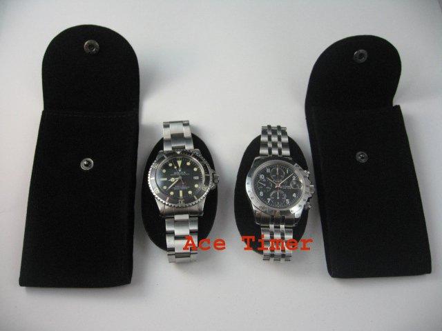 Pack of 10 Black Velvet Watch Pouch w Divider Fit Rolex