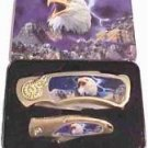 TWO Piece Eagle Knives in Metal Tin Collectible Collector collectors FREE SHIP