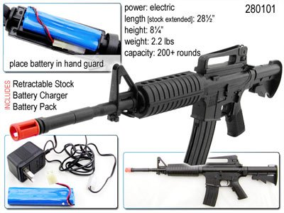 FULLY AUTOMATIC Airsoft M-16 Rifle Electric Recharable air soft FREE S&H