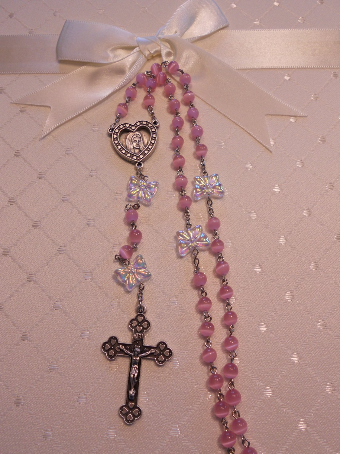 Pink Cat Eye and Clear Butterfly Rosary