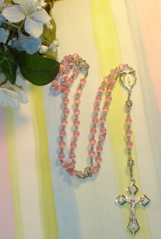 Pink Cat Eye and Gem Handmade Rosary