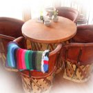 mexican furniture: rustic equipal dining set