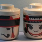 Thai Ceramic Porcelain Cup Bowl Jar Karen Mountain Tribe Style Male Female Pair Hippie Hobo Gyps