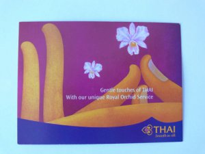 Thai Airways Postcard Aviation Card Gently Touch Unique Royal Orchid Art Finger