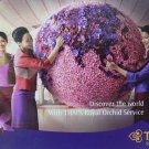 Thai Airways Postcard Aviation Card Smile Girl Flower World Map Airport Background