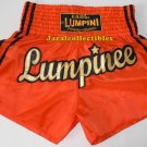 Muay Thai Kick Boxing MMA Shorts K-1 Orange Gold Stripe Black L Nylon Muaythai