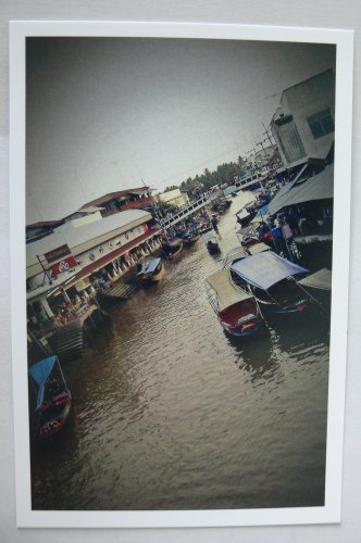 Postcard Thai Thailand Riverside Lifestyle Floating Boat Market Ground Ladder