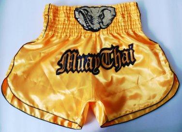 Muay Thai Kick Boxing MMA K1 Shorts Fight Elephant Black Yellow Gold L Soccer Football Style