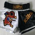 Muay Thai Kick Boxing MMA K1 Shorts Dragon Black White Gold Red L Blue Beautiful