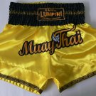 Muay Thai Kick Boxing MMA K1 Shorts Yellow Gold Black White Kylin XL Emperor NEW