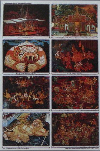Poster Collection Thailand Thai Mural Painting Rama Hanuman Castle Ramayana Ramakian
