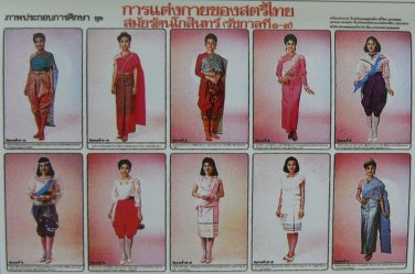 Thai Traditional Fashion Contemporary Woman Dress Culture Poster Education