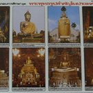 Thai Major Buddha Statue Poster Collection Education Gift Thailand Stand Recline